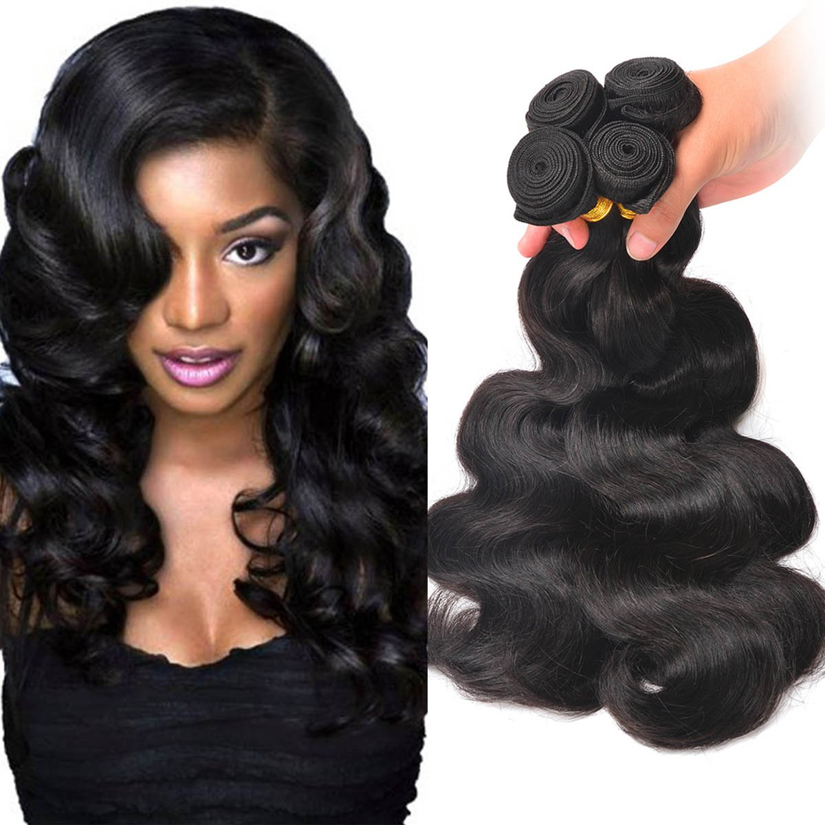 Amazon Brazilian Wavy Hair Bundles Unprocessed Virgin Human
