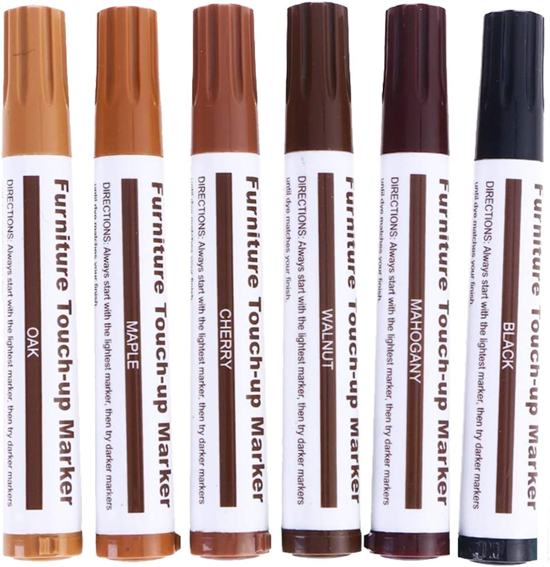 King Rex Set of 13 Furniture Repair Kit, Furniture Repair Markers and Wax Sticks, Furniture Repair Pens for Stains, Scratches, Wood Touch Up Markers and Sticks Kit, Filler Sticks for Deep Scratches