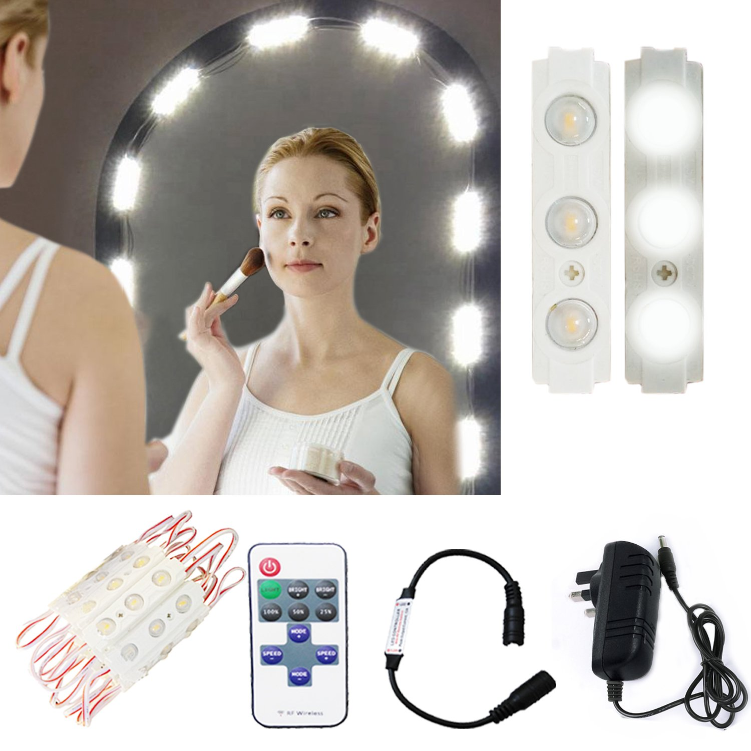 Hollywood Make-up Vanity Mirror Light,60 Leds 9.8Ft Bathroom Vanity Light Kit for DIY Cosmetic Make Up Mirror with Remote,Dimmer & Switch Power Supply UK (Mirror Not Included) Windy5