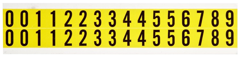 Legend 0 thru 9 Brady 34210 9//16 Width x 3//4 Height B-498 Repositionable Vinyl Cloth Black on Yellow 34 Series Consecutive Markers