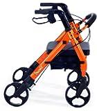 """Comodità Piccola (Petite) Heavy Duty Rollator Walker with Comfortable 15"""" Wide Seat (Metallic Orange)"""