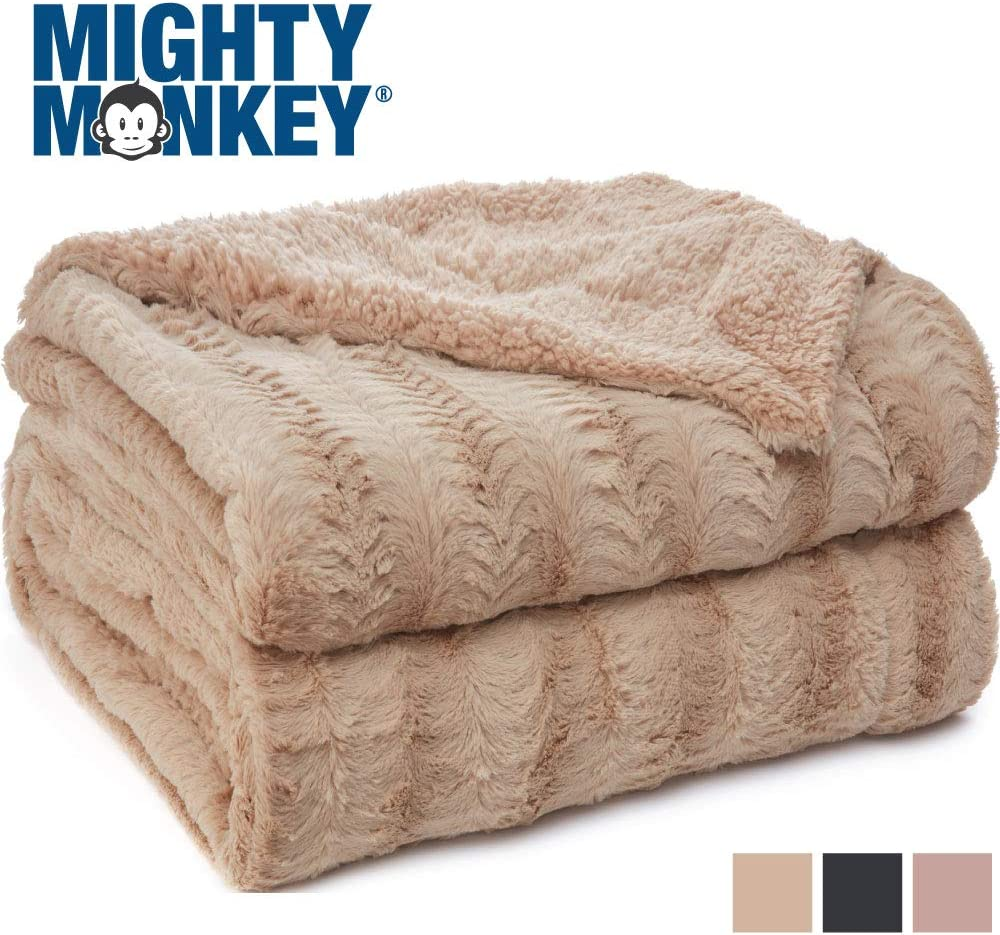 MIGHTY MONKEY Premium Pet Blanket, 47x40 Inch, Machine Washable, Soft Cozy Reversible Sherpa Throw Blankets for Pets, Plush Material, Non Shedding Kitty Cat, Kitten Throws, Large Size, Soft Beige: Home & Kitchen