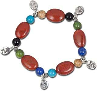 product image for Carolyn Pollack Sterling Silver Multicolor Gemstone Bead and Charm Stretch Bracelet One Size Fits Most