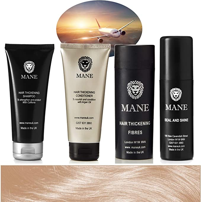 Mane Hair Thickening Fibres Travel Pack with Shampoo, Conditioner ...