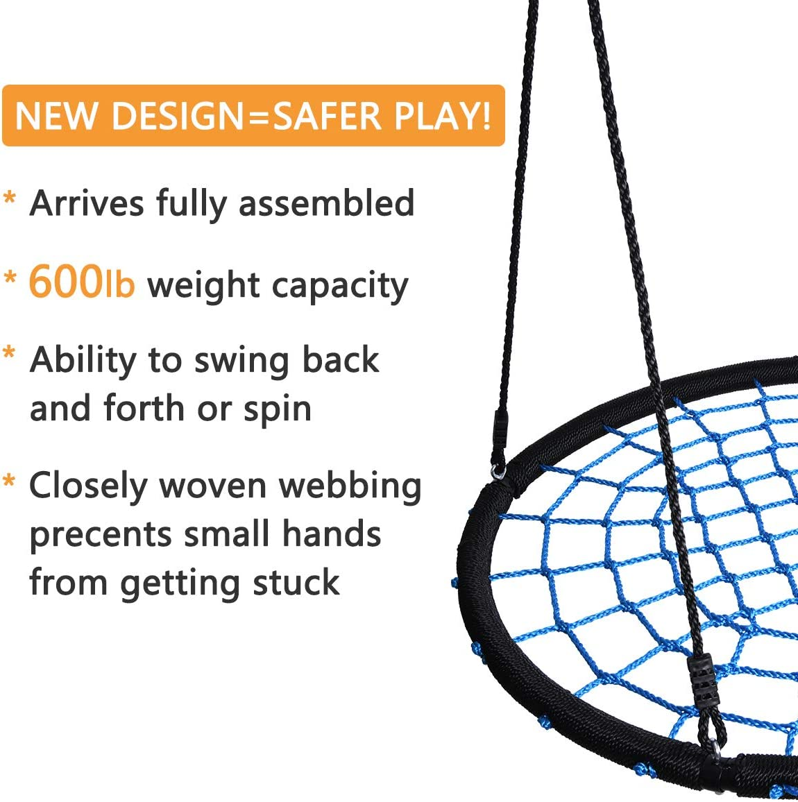 """HYCLAT Saucer Tree Swing 40/""""Spider Web Tree Swing Net Swing Platform Rope Round Swing 70 Detachable Nylon Rope Swivel Extra Safe and Durable for Kids Max 600 Lbs Capacity"""