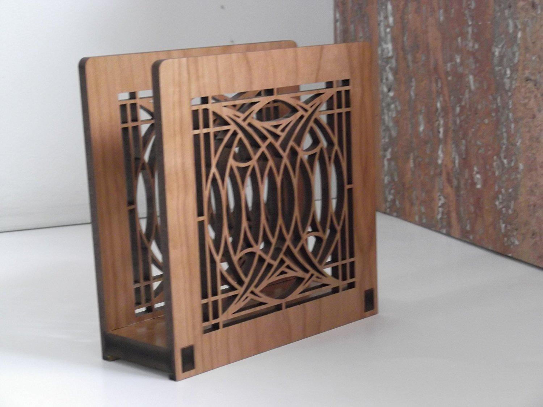 Frank Lloyd Wright BLOSSOM HOUSE Design Laser Cut Wood Napkin Holder by Lightwave Laser