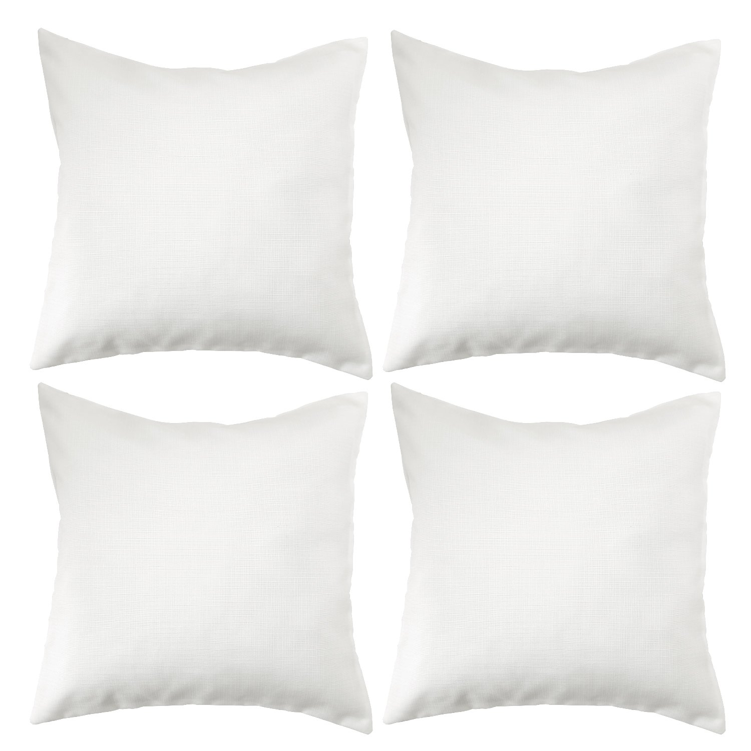 Deconovo Soft Cushion Covers Faux Linen Pillow Covers Throw Pillow Cases for Sofa 18x18 Inch Off White Set of 4 (CASE ONLY, NO Insert)
