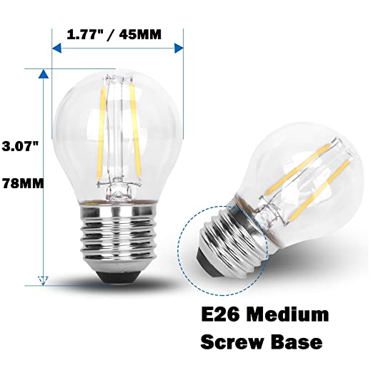 G45 Classic Shape LED Edison String Filament 2W COB Light Bulb E26 Medium Base Rope Lamp DC 12V Low Voltage 12 Volt Battery Lighting Landscape Garden ...