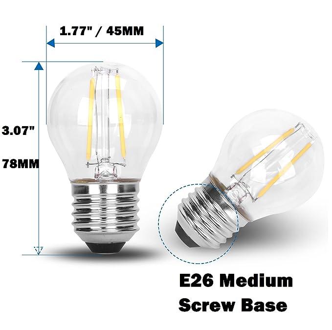 G45 Classic Shape LED Edison String Filament 2W COB Light Bulb E26 Medium Base Rope Lamp DC 12V Low Voltage 12 Volt Battery Lighting Landscape Garden ...