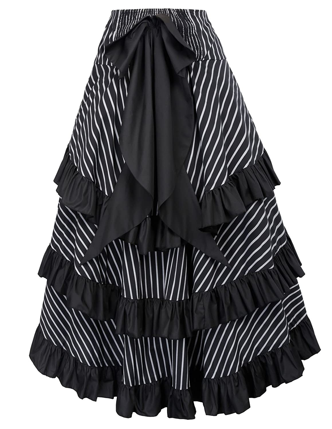 8dc1f07c4d Amazon.com: Belle Poque Striped Steampunk Gothic Victorian High Low Skirt  Bustle Style: Clothing