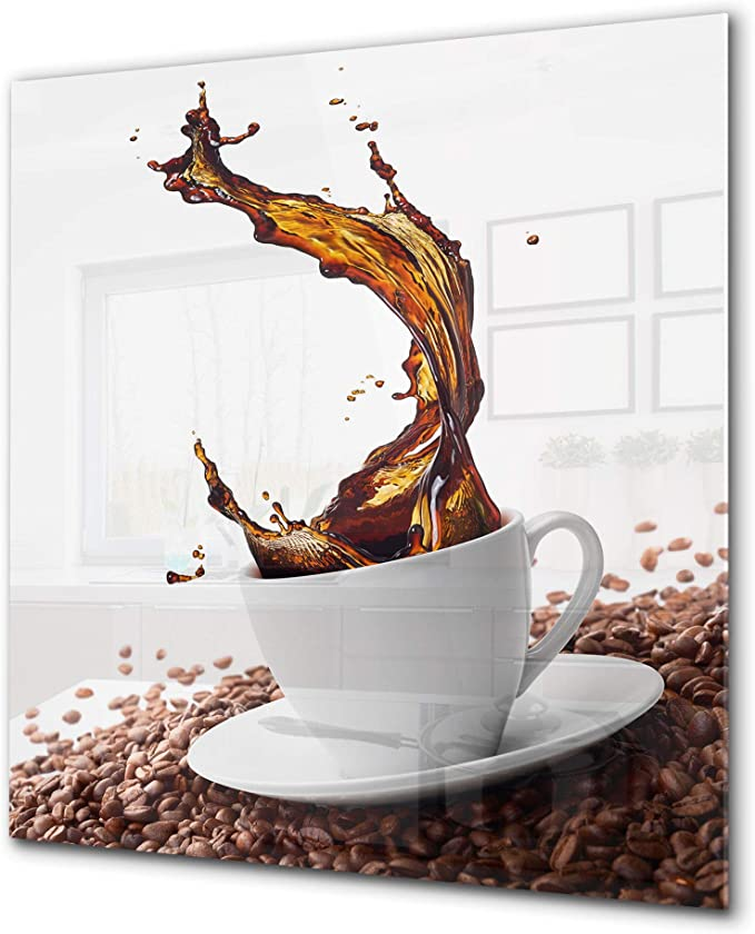 Amazon Com Printed Tempered Glass Wall Art Glass Kitchen Backsplash Bs05a Coffee A Series Spilled Coffee Beans 2 Appliances