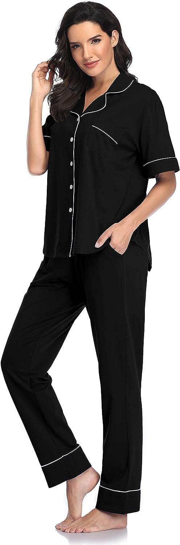 SHEKINI Pigiama Donna Cotone Manica Corta Pigiama Due Pezzi con Chiusura a Bottone Pantaloni con Coulisse