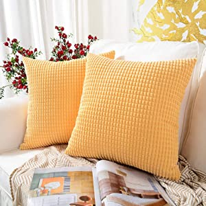 MERNETTE Pack of 2, Corduroy Soft Decorative Square Throw Pillow Cover Cushion Covers Pillowcase, Home Decor Decorations for Sofa Couch Bed Chair 18x18 Inch/45x45 cm (Granules Light Yellow)