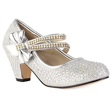 152f89358693 90O Girls Silver Diamante Strappy Kids Block Heel Mary Jane Style Court  Shoes Size 10