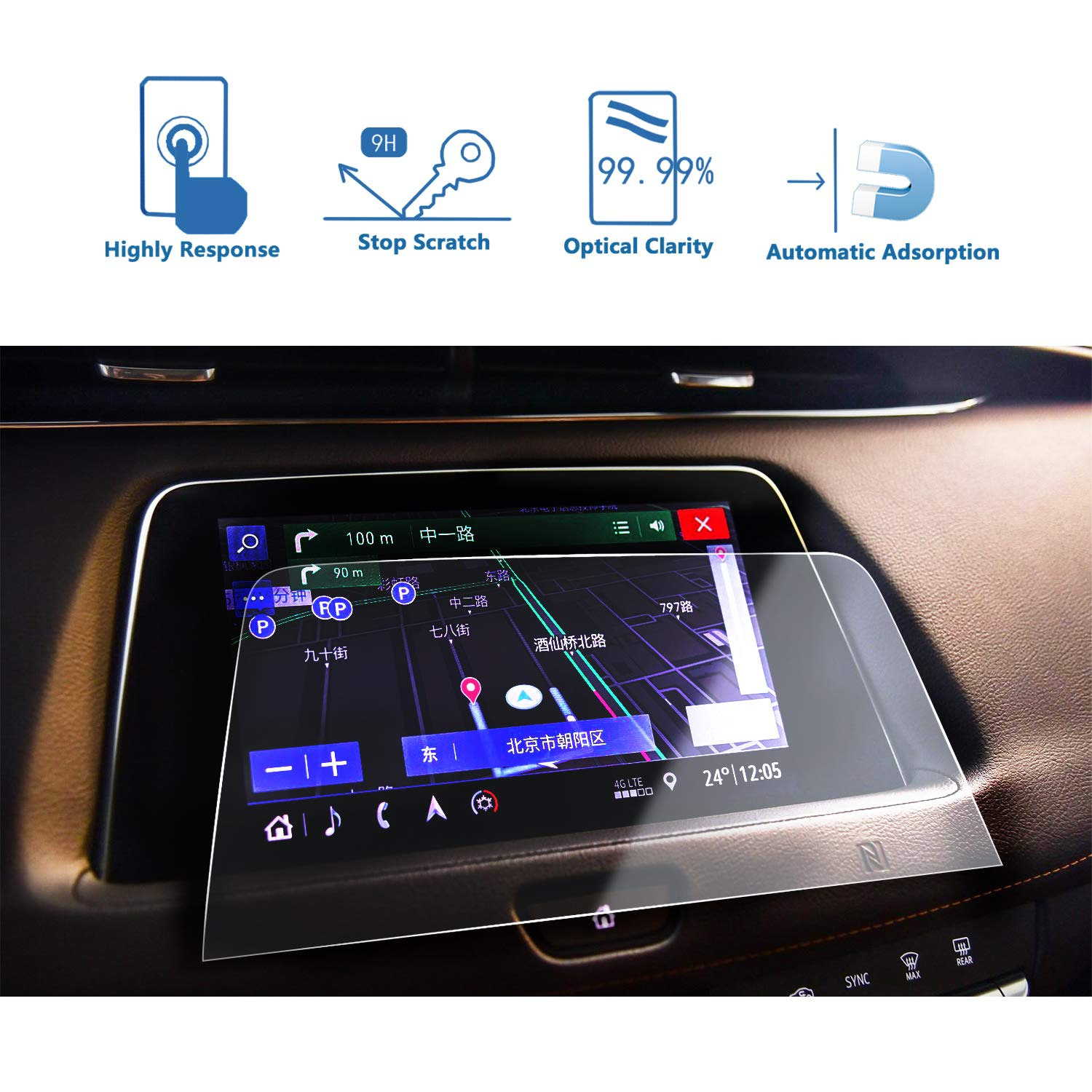 LFOTPP 2019 Cadillac XT4 Navigation Screen Protector, Clear Tempered Glass Car Display Touch Infotainment Screen Scratch-Resistant Extreme Clarity