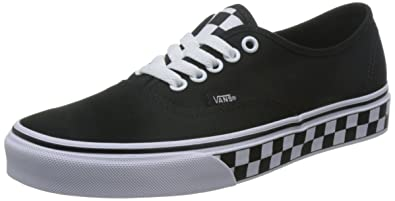 ee91d86465cb61 Vans Unisex Authentic (Checker Tape) Checker Tape Black White Skate Shoe 7