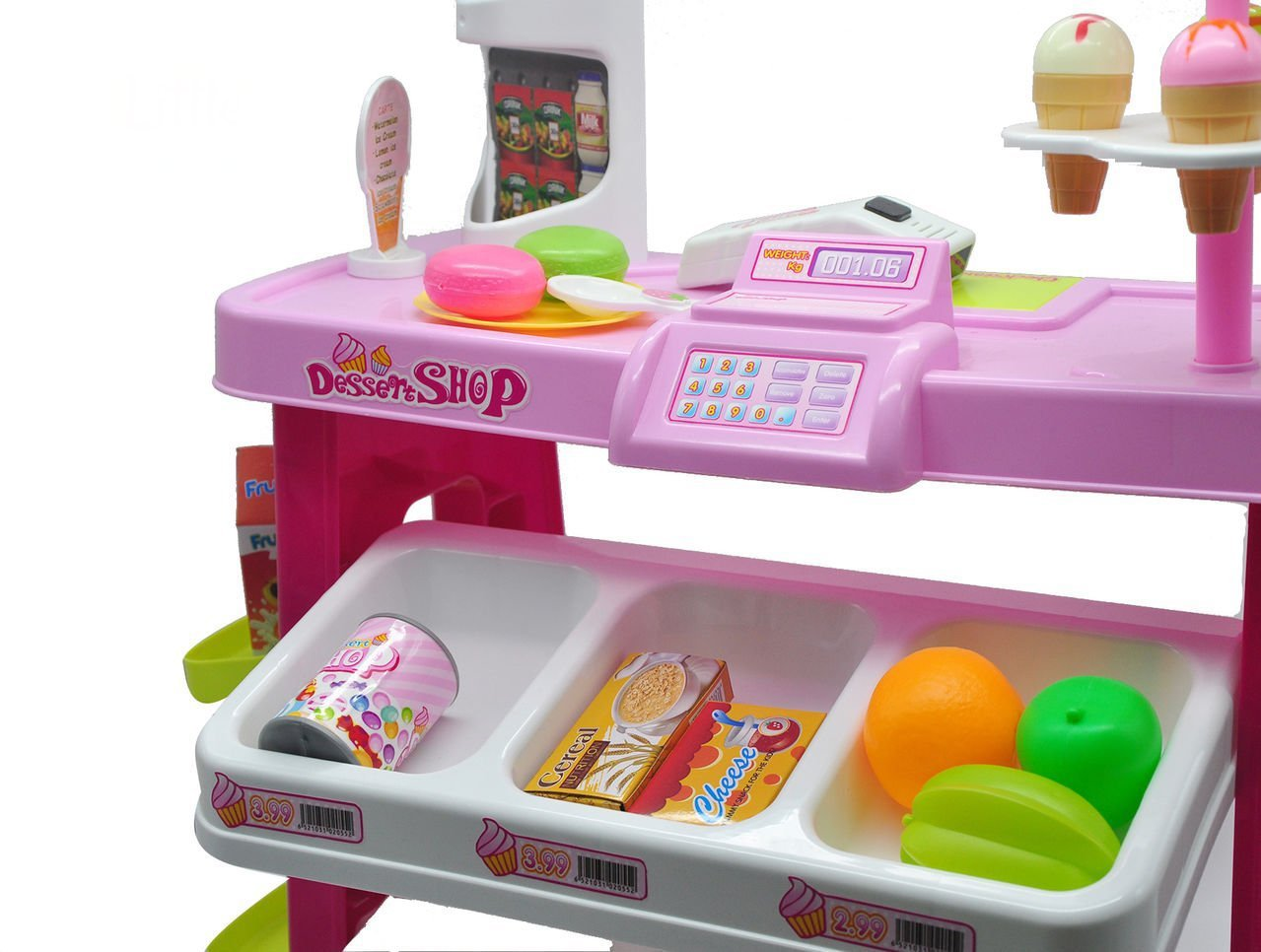 AMPERSAND SHOPS Specialty Dessert Shop Stand Playset with Shelves and Various Treats