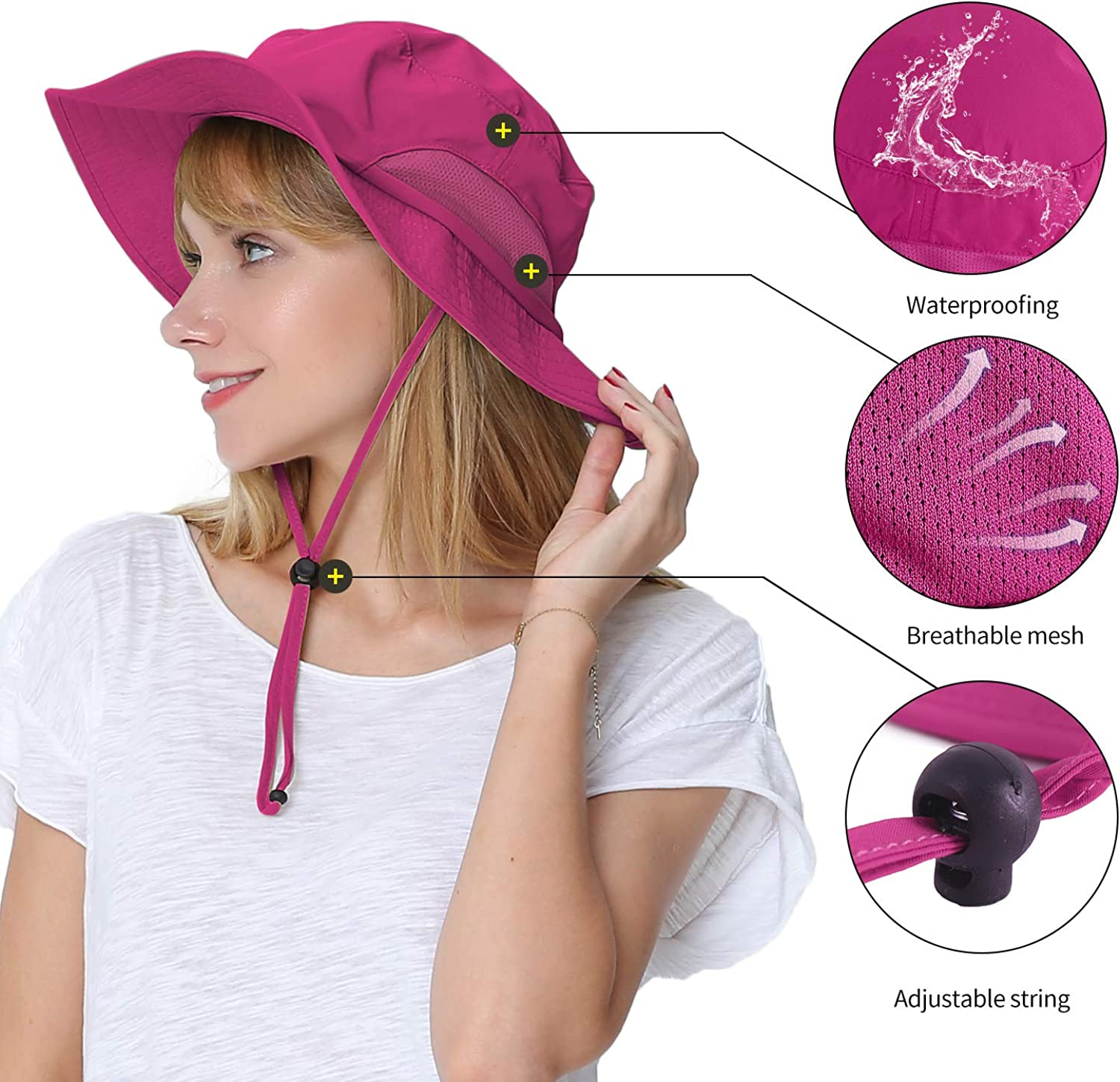 Womens Large Bucket Hat with Removable Chin Strap Quick Dry Water Resistant Sun