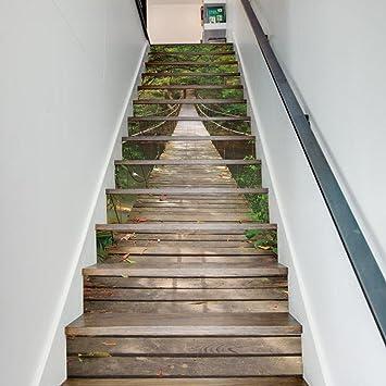 Weihnachts Dekoration Für Halloween 3D Treppenhaus Aufkleber Wandaufkleber  Landschaft Tapete (Wald Hängebrücke) 3d