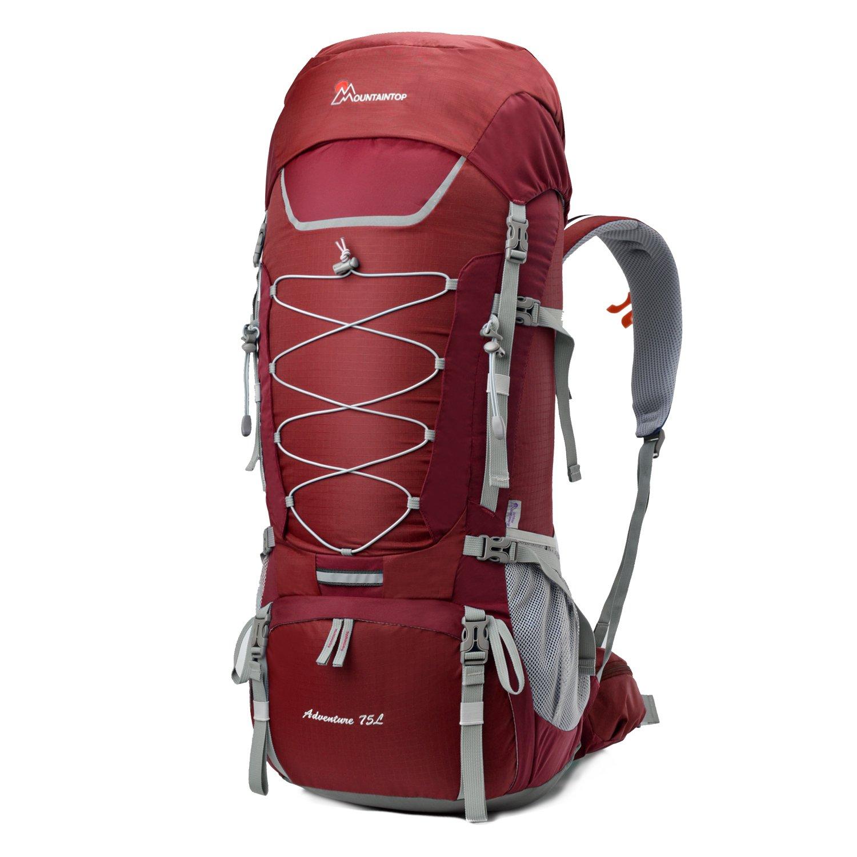 Mountaintop 70L/75L バックパック メンズ リュック 登山 大容量ザック 軽量 長期旅行 ハイキング キャンプ用 リュックサック アウトドアバッグ レインカバー付き 撥水 B07D5VBGPQ レッド 75L レッド 75L