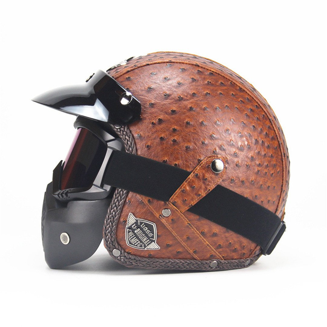 Open Face Half PU Leather Helmet Harley Moto Motorcycle Helmet Vintage Motorcycle Motorbike Vespa with Mask