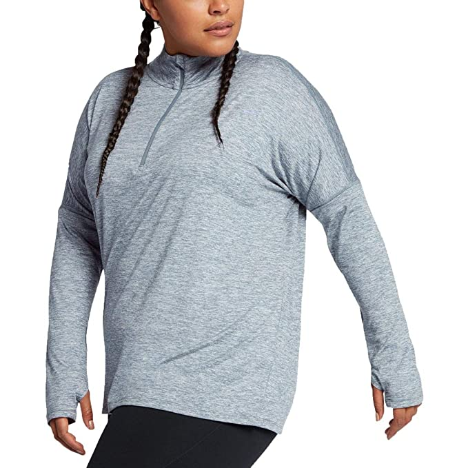 0474616d2afcd Amazon.com  NIKE Women s Element Plus Size Long Sleeve 1 2 Zip ...