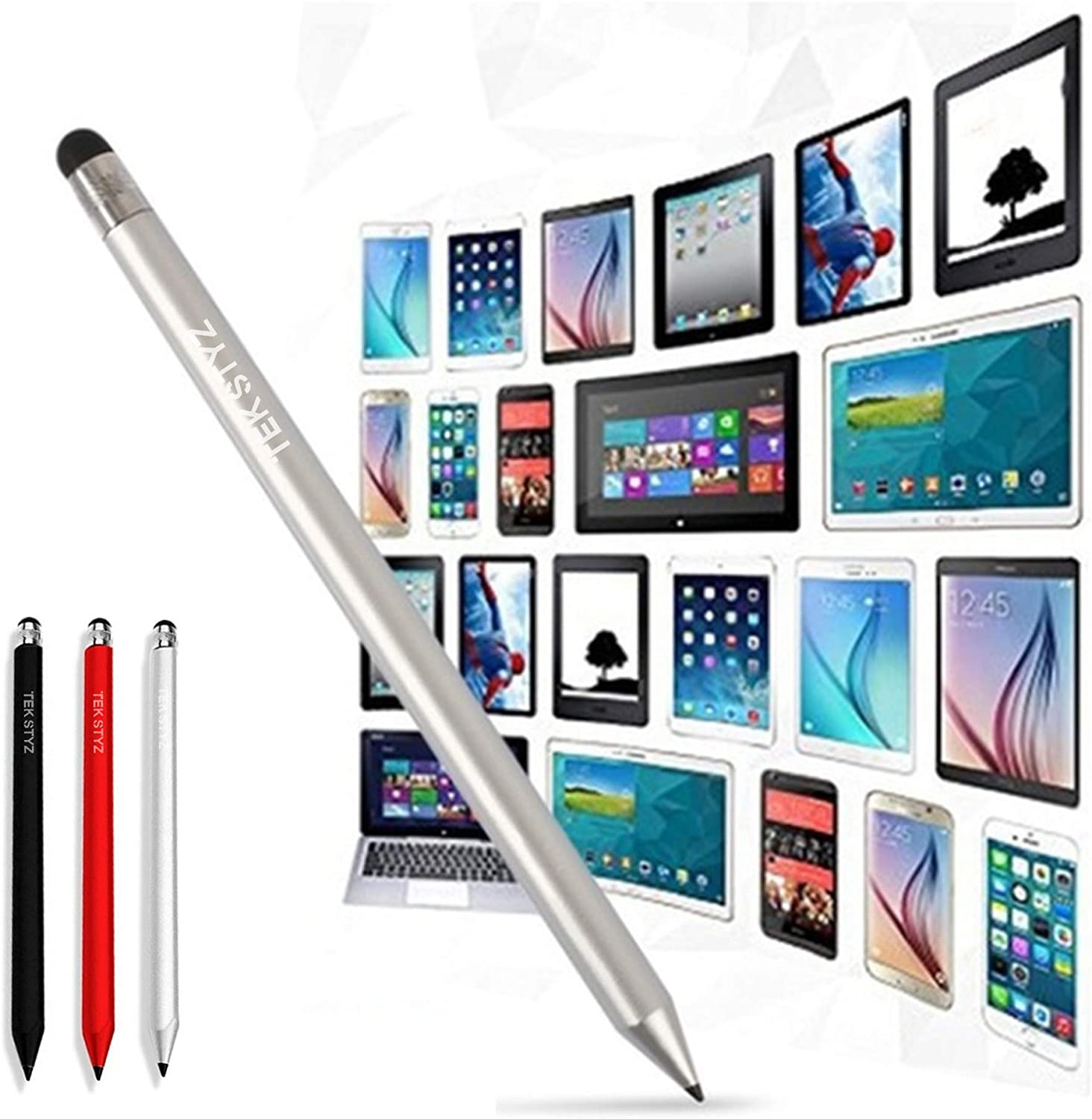 3 Pack - Silver Red Black Pen Works for Sony Xperia 10 Plus with Custom High Sensitivity Touch and Black Ink! Tek Styz PRO Stylus