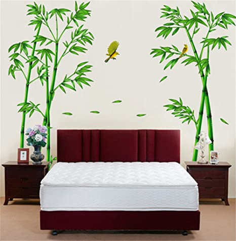 Bibitime Nature Green Bamboo Decor Sticker Flying Birds Oriole Wall Decal Living Room Background Vinyl Art Mural For Bedrooms Walk In Closet