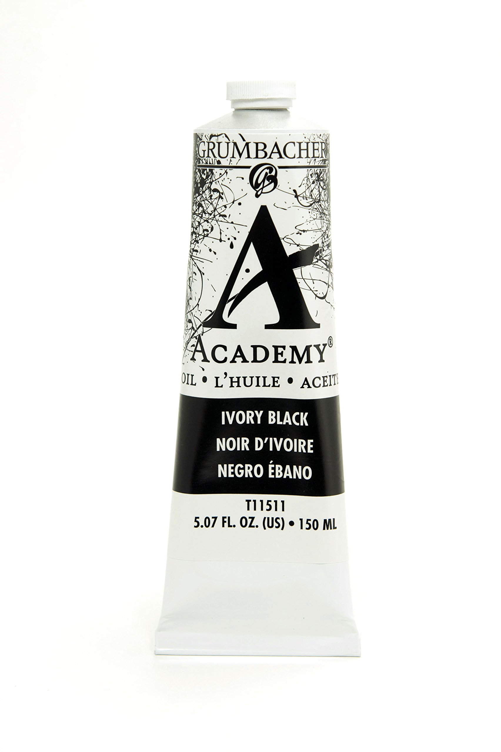 Grumbacher Academy Oil Paint, 150 ml/5.07 oz, Ivory Black