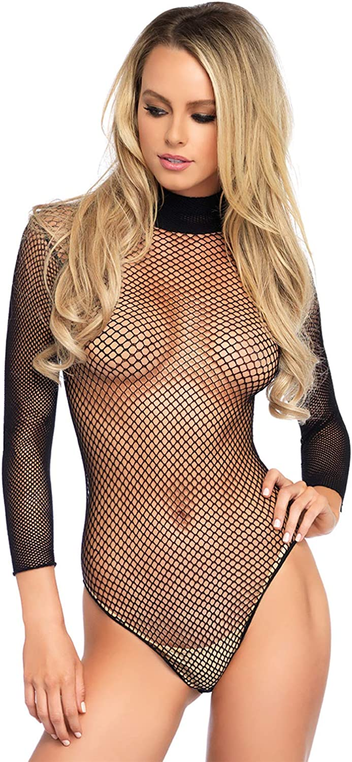 Leg Avenue Women's Fishnet high Neck Long Sleeved Bodysuit with snap Crotch, Black, O/S: Leg Avenue: Clothing