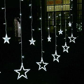 EShing LED Star Curtain Lights Waterproof 138 12 Stars 8 Modes Window Icicle String