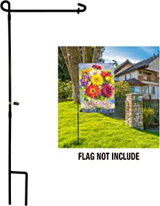 "LAYOER Garden Flag Stand Holder Pole Weather-Proof Paint Holds Flags up to 13"" in Width 0.27 inches Diameter Weighed 1.15 Pounds"