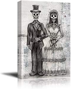 wall26 - Canvas Print Wall Art - Wedding Photo with a Skull Couple - Gallery Wrap Modern Home Decor | Ready to Hang - 24x36 inches