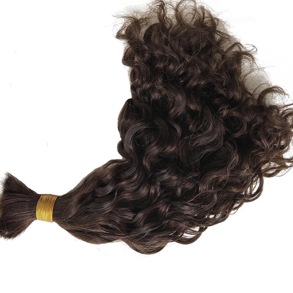 addcolo Bulk Human Hair For Braiding #4 Medium Brown Color Real Human Hair Natural Wave&Medium Brown 100g/bundle