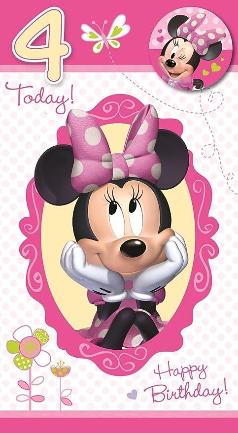 Minnie Mouse Biglietto Di Auguri Di Compleanno 4 Anni Con Spilla
