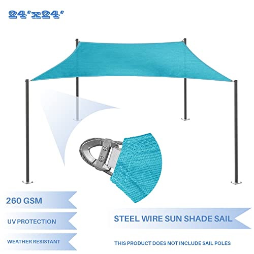 E K Sunrise Reinforcement Large Sun Shade Sail 24 x 24 Rectangle Heavy Duty Strengthen Durable Outdoor Garden Canopy UV Block Fabric 260GSM – 7 Year Warranty – Turquoise Green