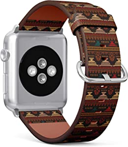 Compatible with Apple Watch (Big 42mm/44mm) Series 1,2,3,4 - Leather Band Bracelet Strap Wristband Replacement - Tribal Art Greece Vintage Ethnic