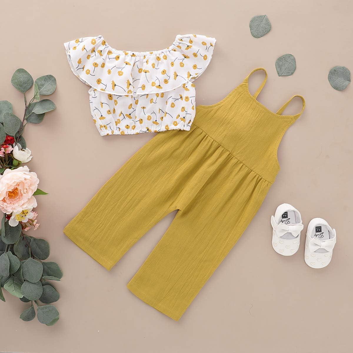 DaMohony Neugeborenes Baby M/ädchen Kleidung Outfit Floral /Ärmelloses Shirt Top Hosentr/äger Hosen Overalls Outfits Set