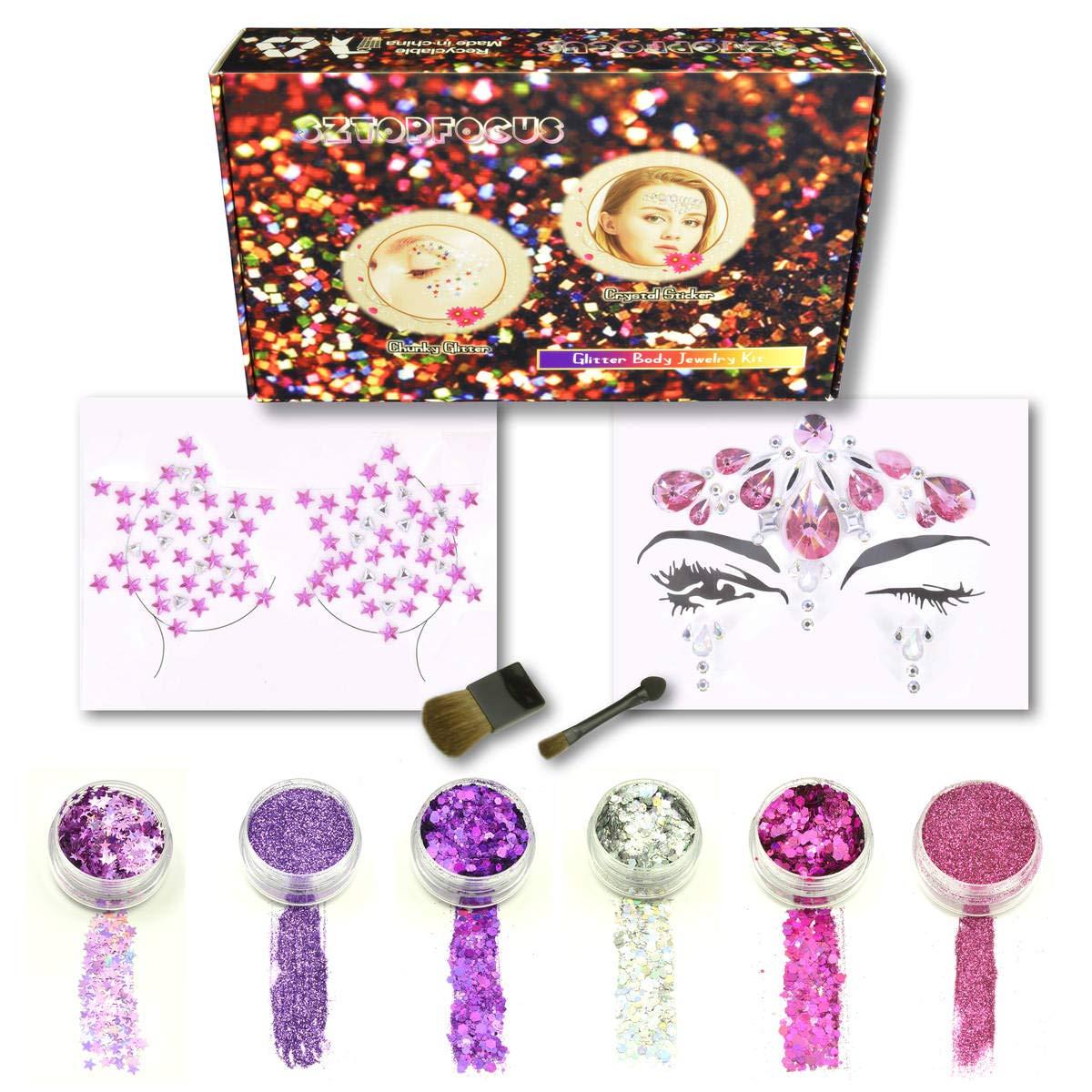 Face jewels Festival Body Jewelry Set Holographic Glitter Powder Cosmetic Makeup Chunky Tattoo Kit Hair Eye Rhinestones Stick On (GS-02)
