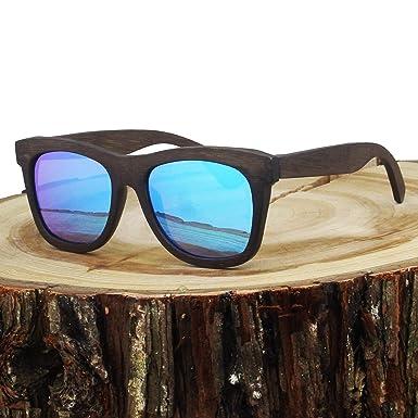 4900dce0c8a Amazon.com  Polarized Real Solid Handmade Bamboo Ice Blue Sunglasses ...