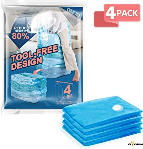 """CLEVHOM Premium Vacuum Storage Bags, Space Saver Compression Bags -4 x Cube Vacuum Bags (31"""" x 40"""" x 15""""), No Pump Needed, Perfect for Storage Clothes, Pillows, Bedding, Blanket and More"""