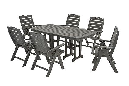 POLYWOOD PWS125 1 GY Nautical 7 Piece Dining Set, Slate Grey