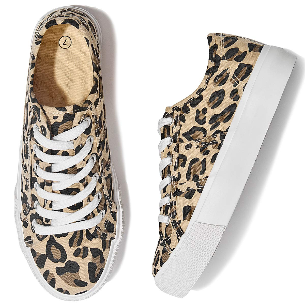 Adokoo Damen Sneakers Leopardenmuster