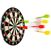 SKYFUN (LABEL) Steel Tip Dart Board Set Double Faced Flock Printing Thickening Family Game Bristle Dartboard with 4 Needle