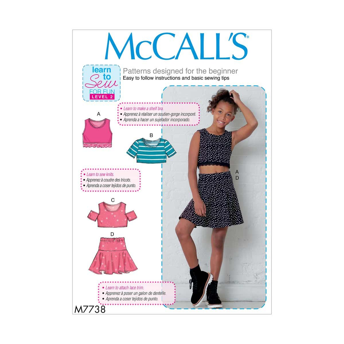 McCall\'s Learn to Sew Girls Tops and Skirt   Size 7-14 Sewing ...