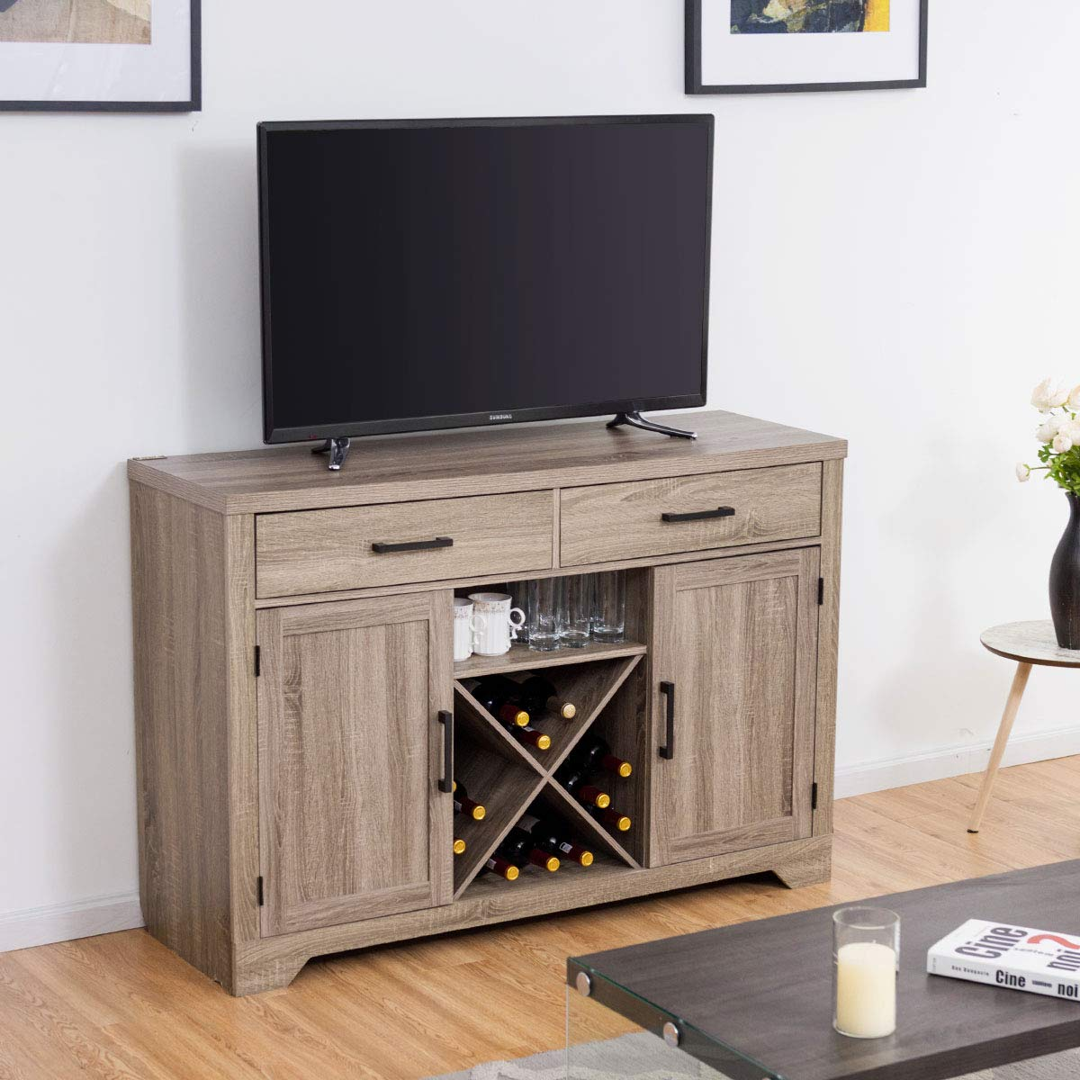 Giantex Buffet Cabinet Sideboard with Two Drawers Two Cabinets One Shelf and 4 Bottle Wine Rack Dining Room Home Furniture Console Storage Cabinet, Natural by Giantex (Image #3)