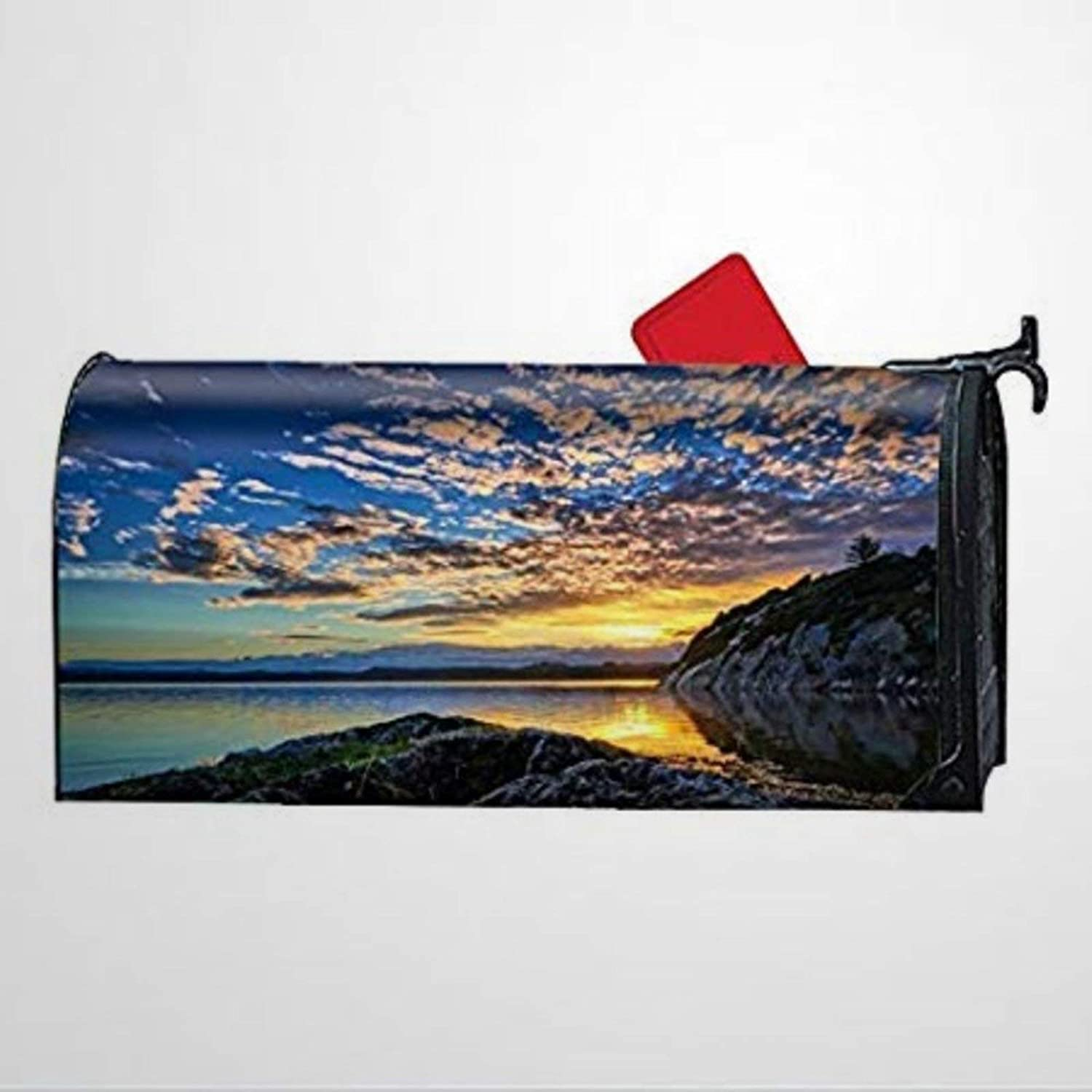 BYRON HOYLE Lake Norway Sky Cloud Sunrise Mailbox Covers Magnetic Mailbox Wraps Post Letter Box Cover Home Garden Yard Outdoor Decor
