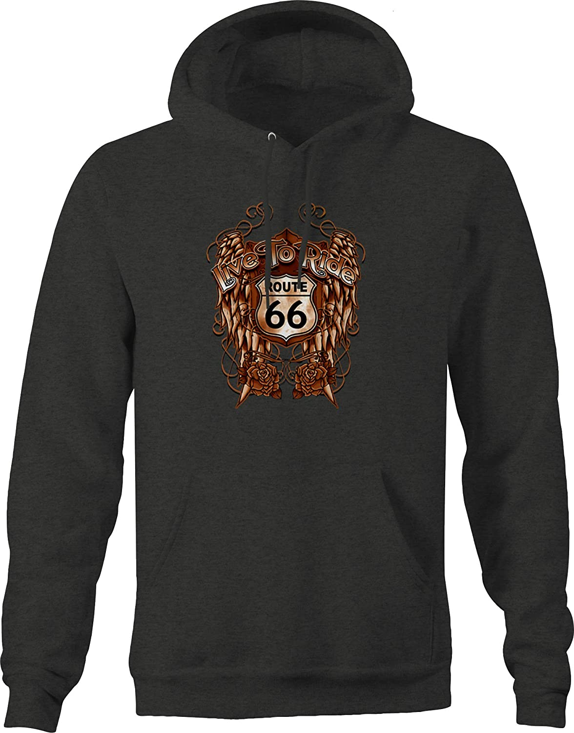 Route 66 Live to Ride Copper Angel Wings Roses Chopper Travel Hoodies for Men