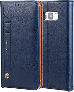 Ultra Slim Case Case for iPhone Samsung Galaxy S8 Plus Wallet Case,Premium PU Leather Credit Card Holder and Money Slot Case with Kickstand Flip cover (TPU inner protective cover) Phone Back Cover