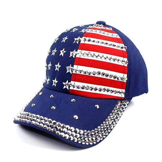 Women Baseball Cap American Flag Patriotic Baseball Hat with Diamond  Snapback (Navy) af36e5eeec